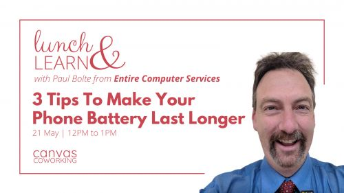 Lunch & Learn - 3 Tips To Make Your Phone Battery Last Longer - Canvas Coworking image