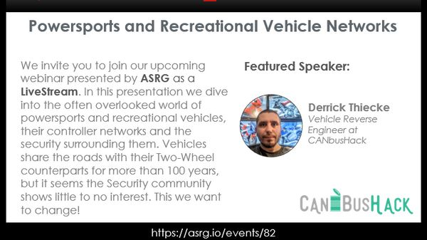 Automotive Security Research Group - Powersports and Recreational Vehicle Networks image